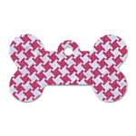 HOUNDSTOOTH2 WHITE MARBLE & PINK DENIM Dog Tag Bone (Two Sides) Front