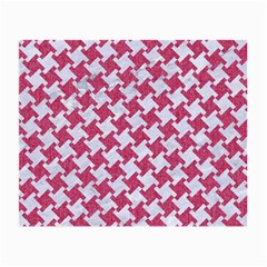 Houndstooth2 White Marble & Pink Denim Small Glasses Cloth (2 Side) by trendistuff