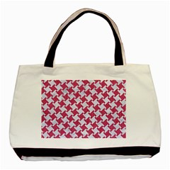 HOUNDSTOOTH2 WHITE MARBLE & PINK DENIM Basic Tote Bag (Two Sides)