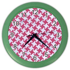 HOUNDSTOOTH2 WHITE MARBLE & PINK DENIM Color Wall Clocks