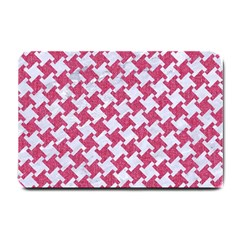 HOUNDSTOOTH2 WHITE MARBLE & PINK DENIM Small Doormat