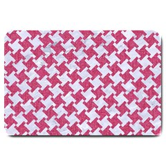 HOUNDSTOOTH2 WHITE MARBLE & PINK DENIM Large Doormat