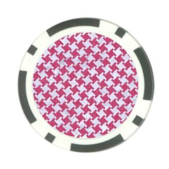 Houndstooth2 White Marble & Pink Denim Poker Chip Card Guard