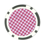 HOUNDSTOOTH2 WHITE MARBLE & PINK DENIM Poker Chip Card Guard Front
