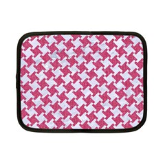 HOUNDSTOOTH2 WHITE MARBLE & PINK DENIM Netbook Case (Small)