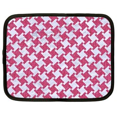 HOUNDSTOOTH2 WHITE MARBLE & PINK DENIM Netbook Case (Large)