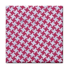 Houndstooth2 White Marble & Pink Denim Face Towel by trendistuff