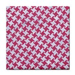 HOUNDSTOOTH2 WHITE MARBLE & PINK DENIM Face Towel Front
