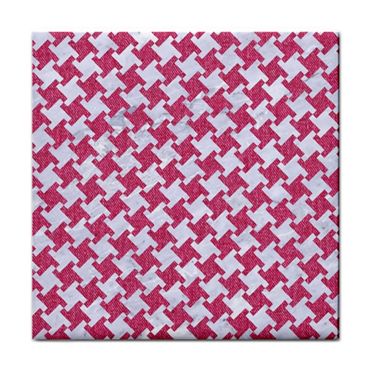 HOUNDSTOOTH2 WHITE MARBLE & PINK DENIM Face Towel