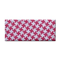 HOUNDSTOOTH2 WHITE MARBLE & PINK DENIM Hand Towel
