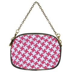 HOUNDSTOOTH2 WHITE MARBLE & PINK DENIM Chain Purses (One Side)