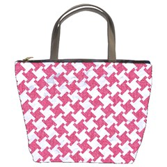 HOUNDSTOOTH2 WHITE MARBLE & PINK DENIM Bucket Bags