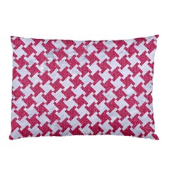 HOUNDSTOOTH2 WHITE MARBLE & PINK DENIM Pillow Case