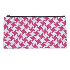 Houndstooth2 White Marble & Pink Denim Pencil Cases by trendistuff