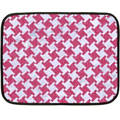 HOUNDSTOOTH2 WHITE MARBLE & PINK DENIM Double Sided Fleece Blanket (Mini)