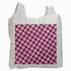 HOUNDSTOOTH2 WHITE MARBLE & PINK DENIM Recycle Bag (One Side)
