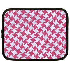 Houndstooth2 White Marble & Pink Denim Netbook Case (xl)