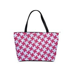 Houndstooth2 White Marble & Pink Denim Shoulder Handbags