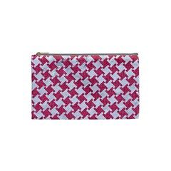 Houndstooth2 White Marble & Pink Denim Cosmetic Bag (small)  by trendistuff