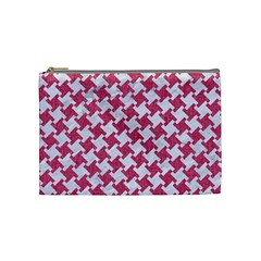 HOUNDSTOOTH2 WHITE MARBLE & PINK DENIM Cosmetic Bag (Medium)