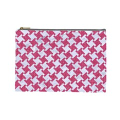 HOUNDSTOOTH2 WHITE MARBLE & PINK DENIM Cosmetic Bag (Large)
