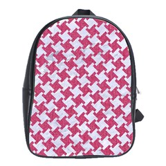 HOUNDSTOOTH2 WHITE MARBLE & PINK DENIM School Bag (Large)