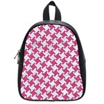 HOUNDSTOOTH2 WHITE MARBLE & PINK DENIM School Bag (Small) Front
