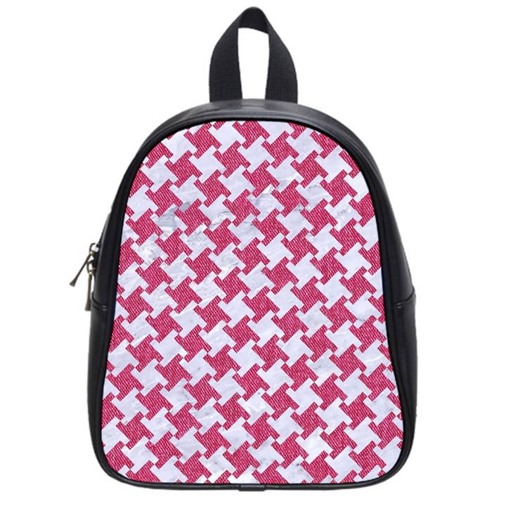 HOUNDSTOOTH2 WHITE MARBLE & PINK DENIM School Bag (Small)