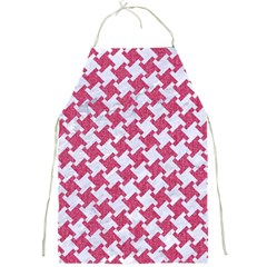 Houndstooth2 White Marble & Pink Denim Full Print Aprons by trendistuff