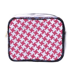 HOUNDSTOOTH2 WHITE MARBLE & PINK DENIM Mini Toiletries Bags