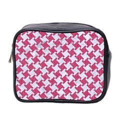 HOUNDSTOOTH2 WHITE MARBLE & PINK DENIM Mini Toiletries Bag 2-Side