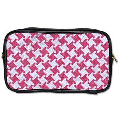 HOUNDSTOOTH2 WHITE MARBLE & PINK DENIM Toiletries Bags 2-Side