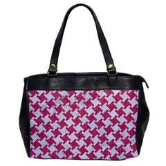 Houndstooth2 White Marble & Pink Denim Office Handbags