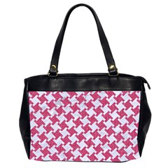 HOUNDSTOOTH2 WHITE MARBLE & PINK DENIM Office Handbags (2 Sides)
