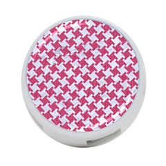 HOUNDSTOOTH2 WHITE MARBLE & PINK DENIM 4-Port USB Hub (Two Sides)