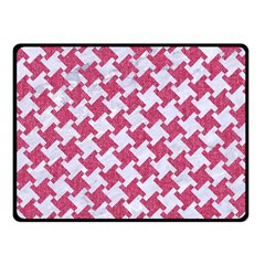 Houndstooth2 White Marble & Pink Denim Fleece Blanket (small)