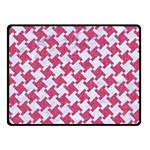 HOUNDSTOOTH2 WHITE MARBLE & PINK DENIM Fleece Blanket (Small) 50 x40  Blanket Front