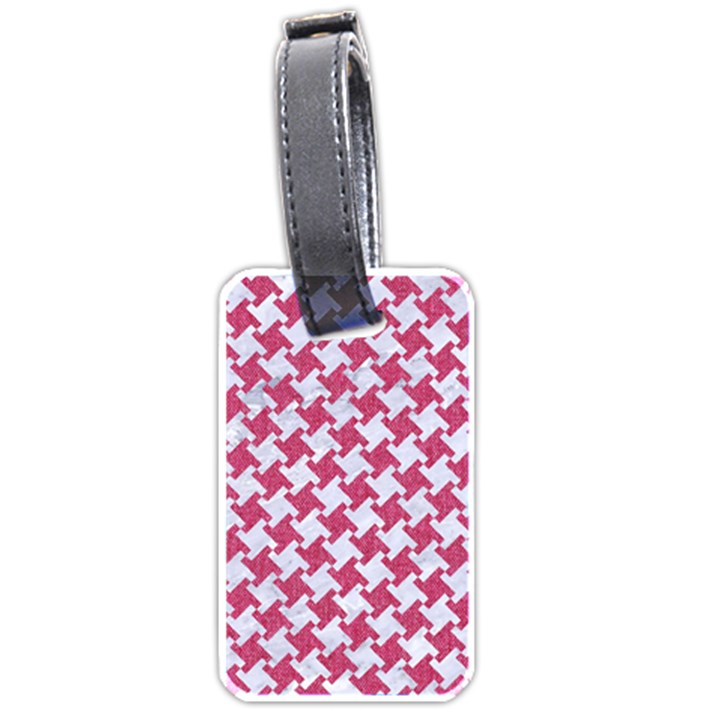 HOUNDSTOOTH2 WHITE MARBLE & PINK DENIM Luggage Tags (Two Sides)