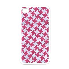 Houndstooth2 White Marble & Pink Denim Apple Iphone 4 Case (white) by trendistuff