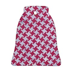 HOUNDSTOOTH2 WHITE MARBLE & PINK DENIM Ornament (Bell)