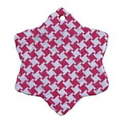 HOUNDSTOOTH2 WHITE MARBLE & PINK DENIM Snowflake Ornament (Two Sides)