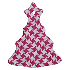 Houndstooth2 White Marble & Pink Denim Christmas Tree Ornament (two Sides)