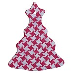 HOUNDSTOOTH2 WHITE MARBLE & PINK DENIM Christmas Tree Ornament (Two Sides) Front