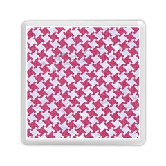 Houndstooth2 White Marble & Pink Denim Memory Card Reader (square)  by trendistuff