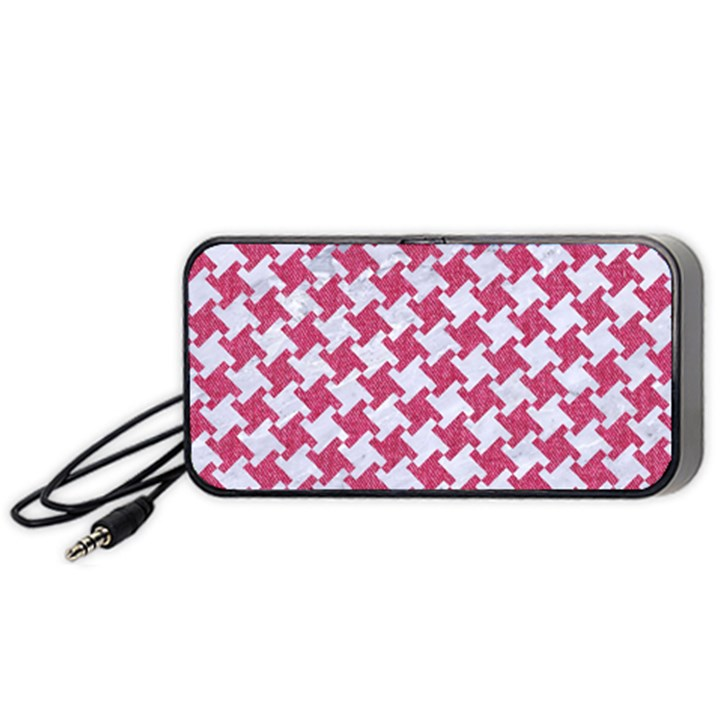 HOUNDSTOOTH2 WHITE MARBLE & PINK DENIM Portable Speaker