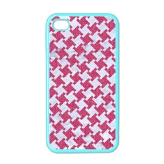 Houndstooth2 White Marble & Pink Denim Apple Iphone 4 Case (color) by trendistuff