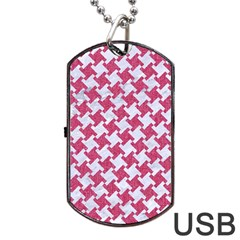 HOUNDSTOOTH2 WHITE MARBLE & PINK DENIM Dog Tag USB Flash (One Side)