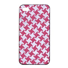 Houndstooth2 White Marble & Pink Denim Apple Iphone 4/4s Seamless Case (black) by trendistuff