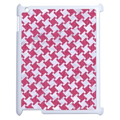 HOUNDSTOOTH2 WHITE MARBLE & PINK DENIM Apple iPad 2 Case (White)