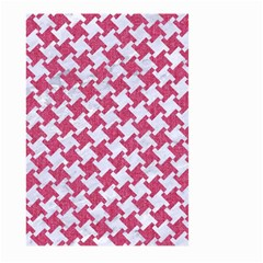 HOUNDSTOOTH2 WHITE MARBLE & PINK DENIM Large Garden Flag (Two Sides)